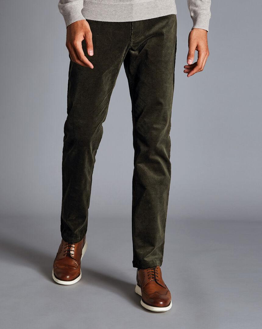 Stretch Corduroy 5-Pocket Trousers - Dark Green