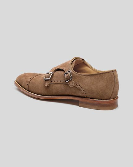 Flex Sole Suede Double Buckle Monk Shoes - Tan