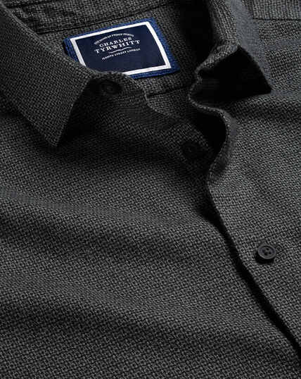 Textured Flannel Shirt - Dark Grey