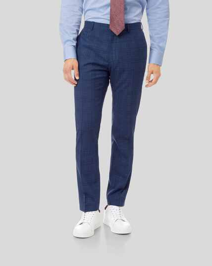 Merino Check Business Suit Trousers - Blue