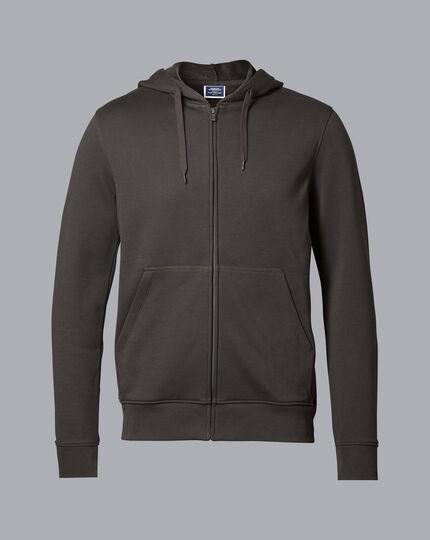 Jersey Zip Through Hoodie - Charcoal