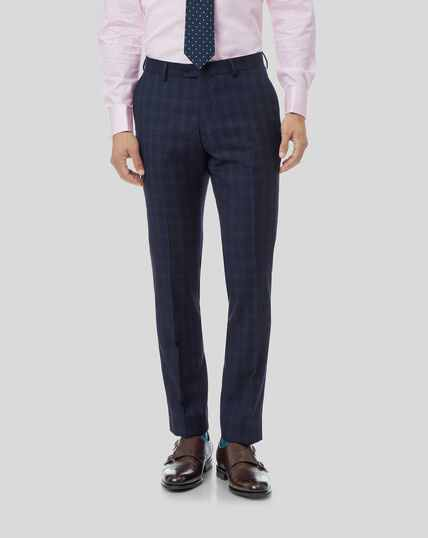 Check Birdseye Travel Suit Trousers - Navy