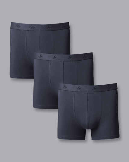 3 Pack Cotton Stretch Jersey Trunks - French Blue