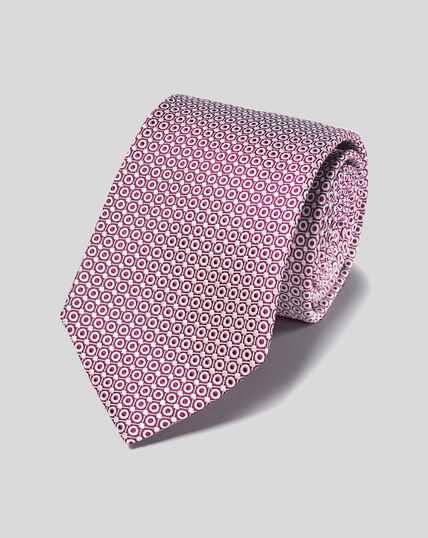 Schmutzabweisende Krawatte aus Seide - Beerenrot & Weiß