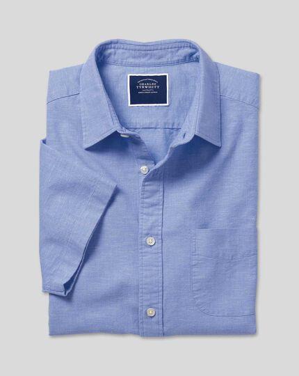 Kurzarmhemd aus Baumwoll und Leinen - Blau