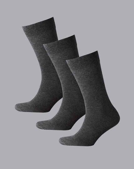 Cotton Rich 3 Pack Socks - Grey