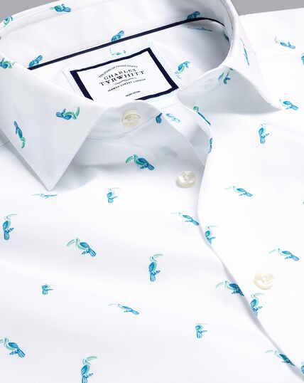 Hemd mit Semi-Haifischkragen und Tukanmotiv-Aquamarin