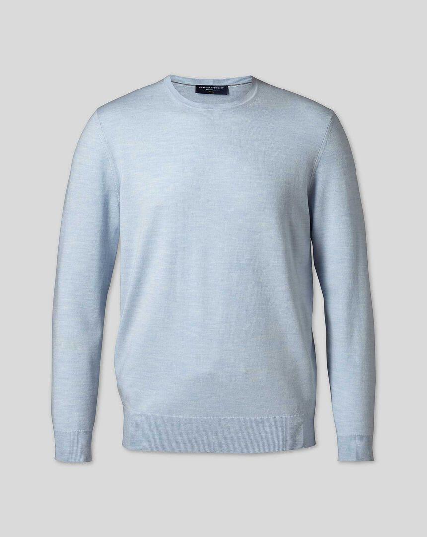 Merino Crew Neck Sweater - Sky