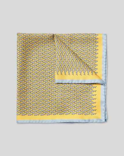 Hammerhead Shark Print Pocket Square - Yellow & Sky