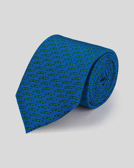Alligator Silk Print Classic Tie - Royal Blue & Green