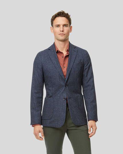 Check Wool Mix Jacket - Blue