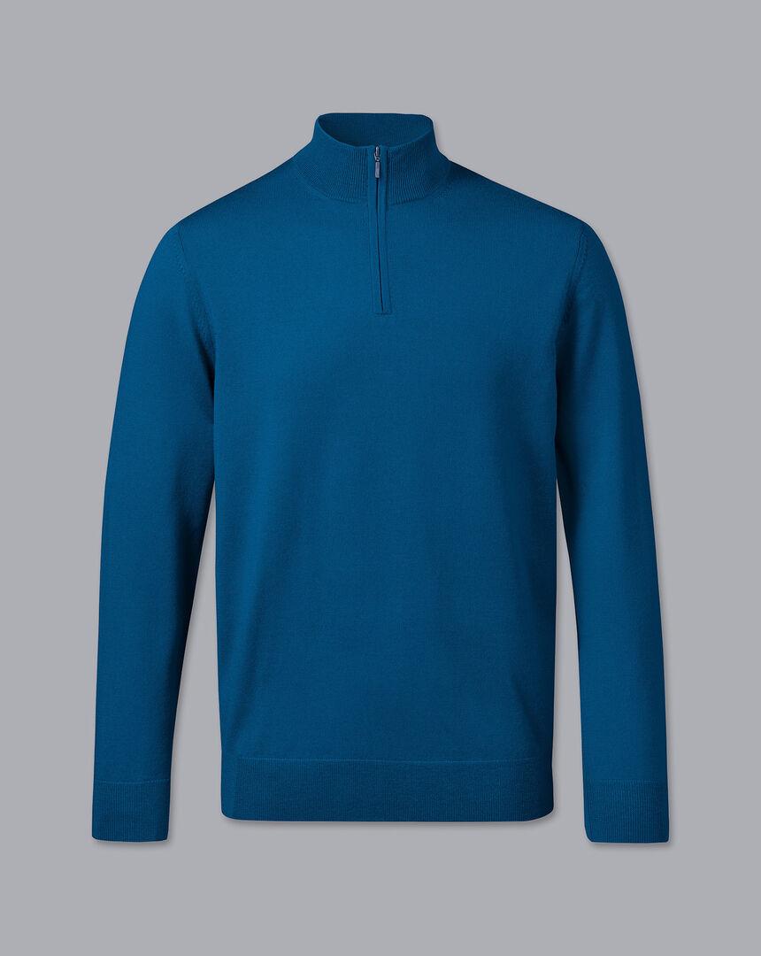 Merino Zip Neck Sweater - Petrol Blue