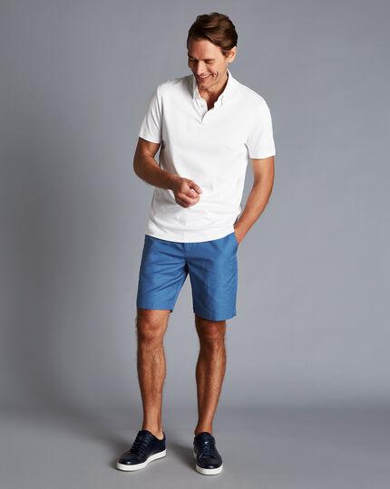 Cotton Linen Shorts - Bright Blue