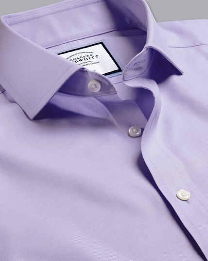 Spread Collar Non-Iron Twill Shirt - Lilac Purple