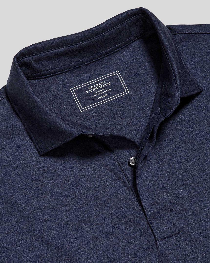 Cotton TENCEL™ Mix Long Sleeve Polo - Indigo