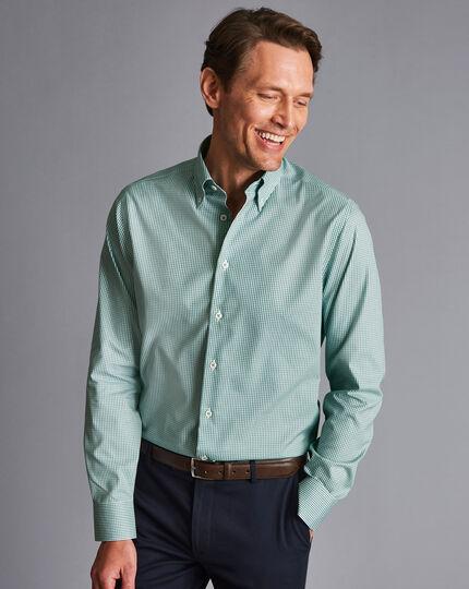 Button-Down Collar Non-Iron Check Shirt - Green