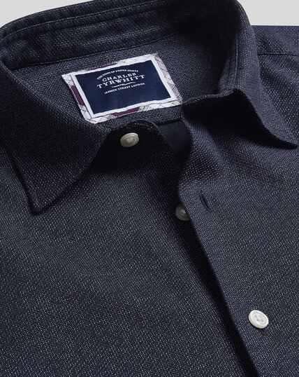 Vorgewaschenes Hemd aus Strukturgewebe mit Wabenmuster - Marineblau