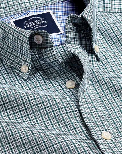 Button-Down Non-Iron Cotton Stretch Oxford Check Shirt - Green Multi