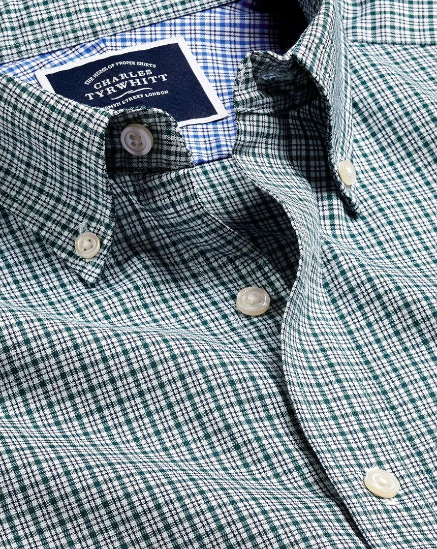 Bügelfreies Oxfordhemd aus Stretchgewebe mit Button-down-Kragen und Karos - Grün