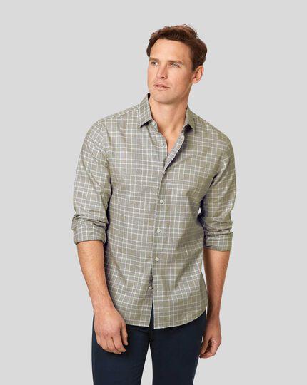 Leichtes Flanellhemd mit Prince-of-Wales-Karos - Olivgrün