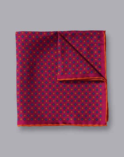 Mini Geometic Print Pocket Square - Berry & Orange