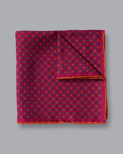 Einstecktuch mit geometrischem Miniprint - Beerenrot & Orange