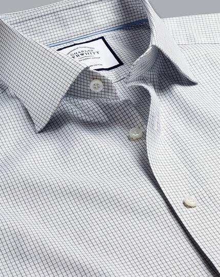 Semi-Spread Collar Egyptian Cotton Twill Check Shirt - Navy & Green