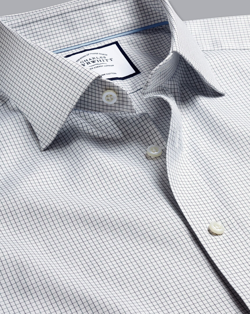 Semi-Cutaway Collar Egyptian Cotton Twill Check Shirt - Navy & Green