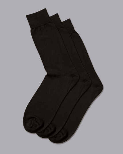 Cotton Rich 3 Pack Socks - Black