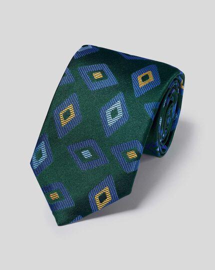 Silk Geometric Diamond English Luxury Tie - Green & Blue