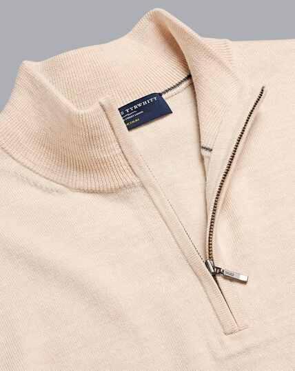 Merino Zip Neck Sweater - Stone