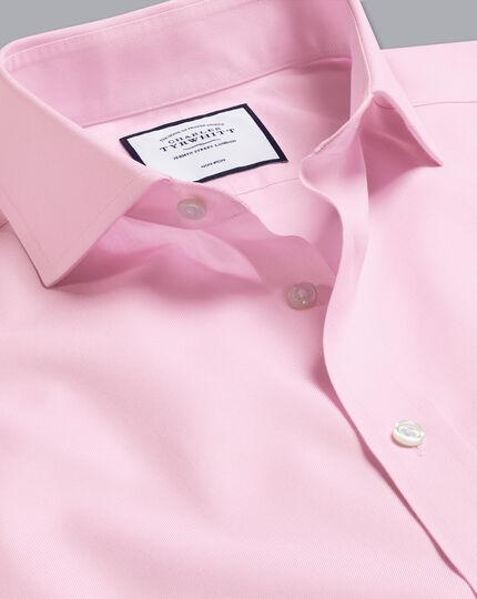 Spread Collar Non-Iron Twill Shirt - Pink