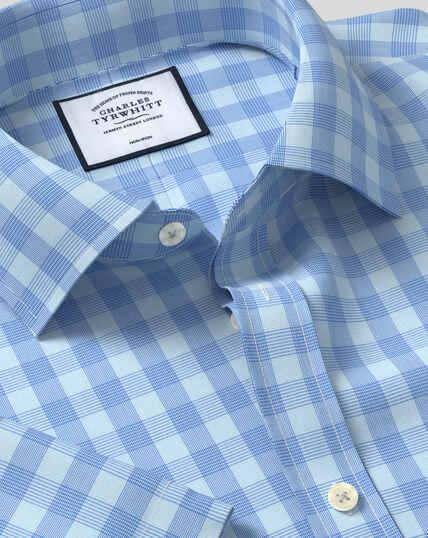 Bügelfreies Tyrwhitt Cool Popeline-Kurzarmhemd mit Kent-Kragen und Karos - Himmelblau