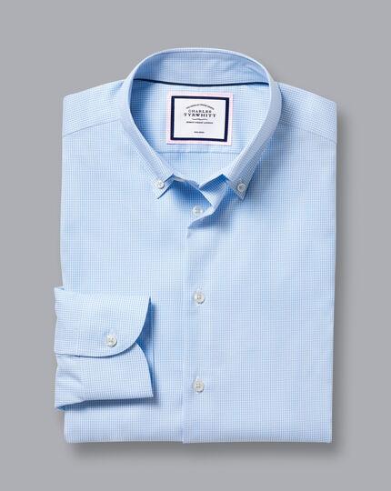Button-Down Collar Non-Iron Gingham Check Shirt - Sky Blue