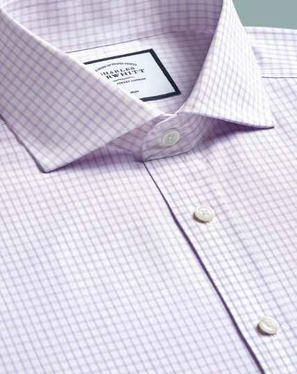 Non-Iron 4-Way Stretch Check Shirt- Lilac