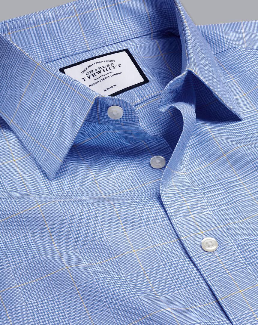 Non-Iron Prince of Wales Check Shirt - Ocean Blue