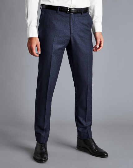 Italian Luxury Stretch Flannel Suit Trousers - Dark Blue
