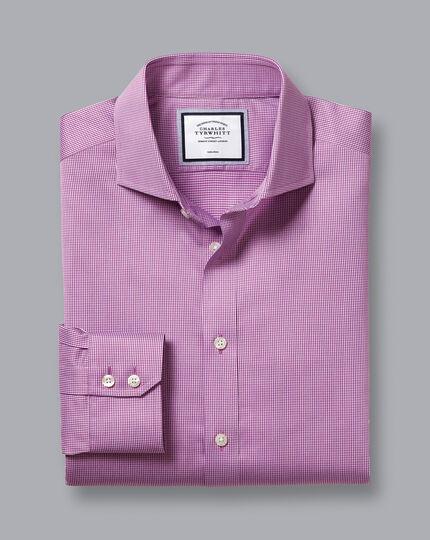 Cutaway Collar Non-Iron Twill Puppytooth Shirt - Purple