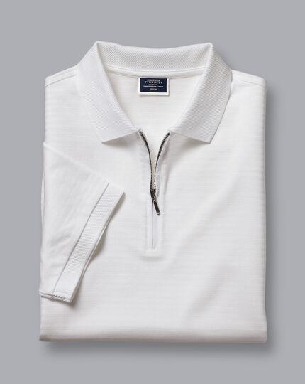 Tyrwhitt Cool Zip-Neck Stripe Polo - White