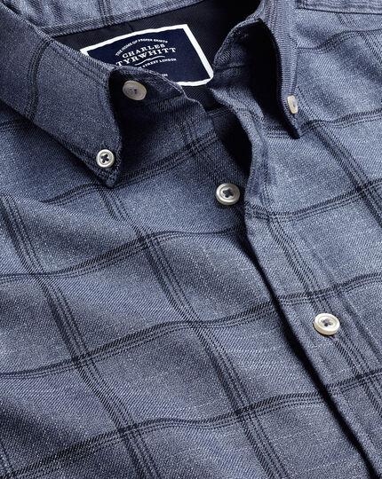 Bügelfreies Twill-Hemd mit Button-down-Kragen und Windowpane-Karos - Blau & Marineblau