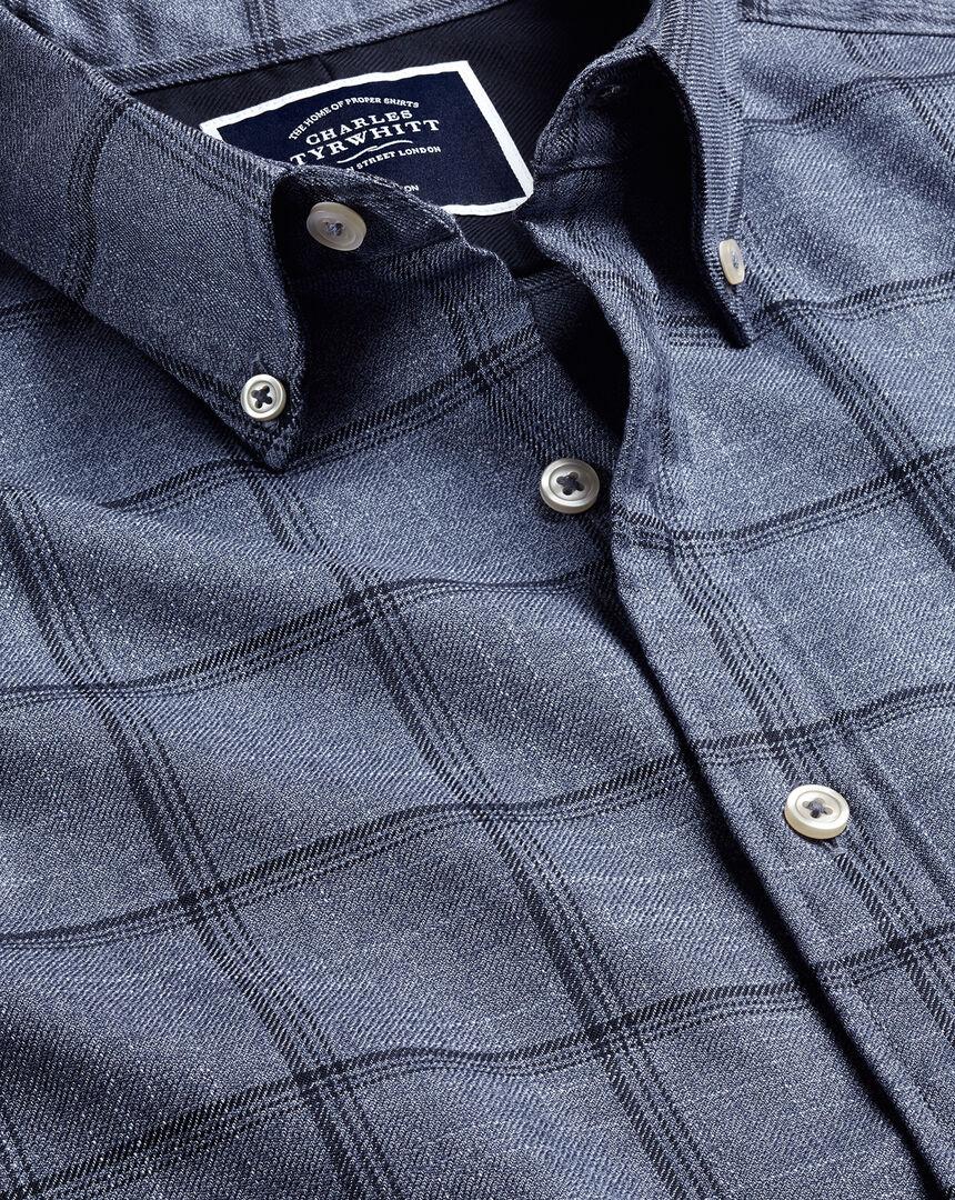 Button-Down Collar Non-Iron Twill Windowpane Check Shirt - Blue & Navy