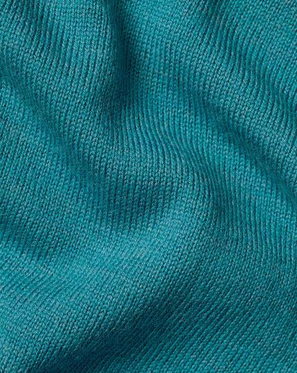 Merino Crew Neck Sweater - Teal Melange