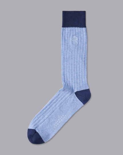 England Rugby Cotton Rib Socks - Sky