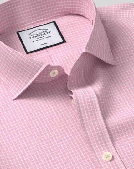 Cutaway Collar Non-Iron Cotton Stretch Grid Check Shirt - Pink