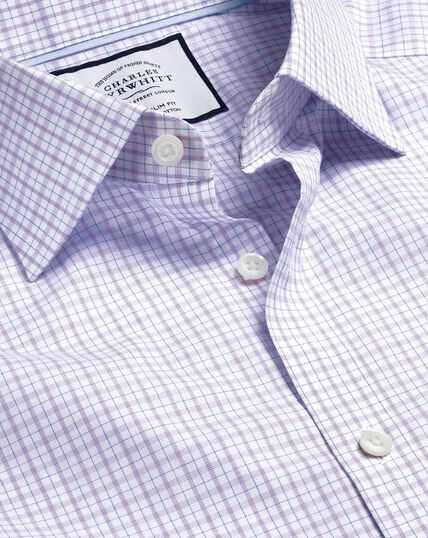 Semi-Cutaway Collar Egyptian Cotton Poplin Check Shirt - Lilac