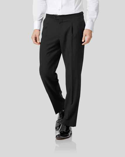 Dinner Suit Pants with Single Pleat - Black