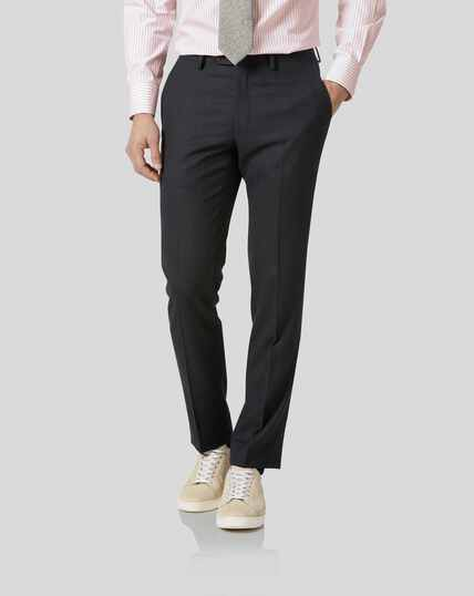 Birdseye Travel Suit Pants - Charcoal Grey