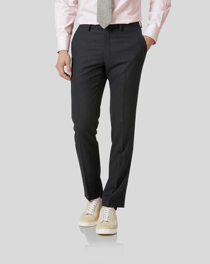 Birdseye Travel Suit Trousers - Charcoal Grey