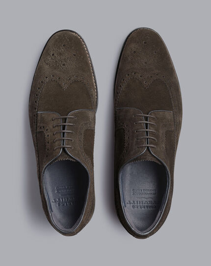 Goodyear Welted Derby Brogue Performance Shoes - Dark Chocolate