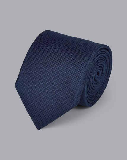 Stain Resistant Silk Textured Tie - Navy